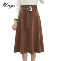 2017 Fashion Suede High Waist Autumn Winter Skirts Ladies Ball Gown Pleated Casual Skirts Vintage Style