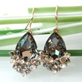 Navachi Water Drop Gray Cubic Zirconia Yellow Gold Plated Rhinestone Crystal Hook Earrings SMT2637