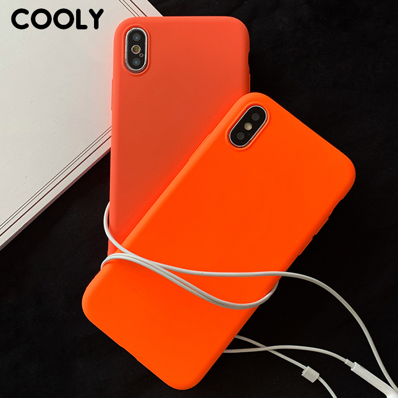 COOLY Orange Silicone <font><b>Case</b></font> For Samsung Galaxy S8 S9 S10 Plus S10e Cover on Note 8 9 C7 Pro C9 Back Coque Ultra Slim Matte Shell image
