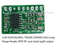 125 K de Largo Alcance módulo Lector EM4100, 4001, TK4100, EM4305 Ultra tarjeta RFID RF módulo wg26 salida serial