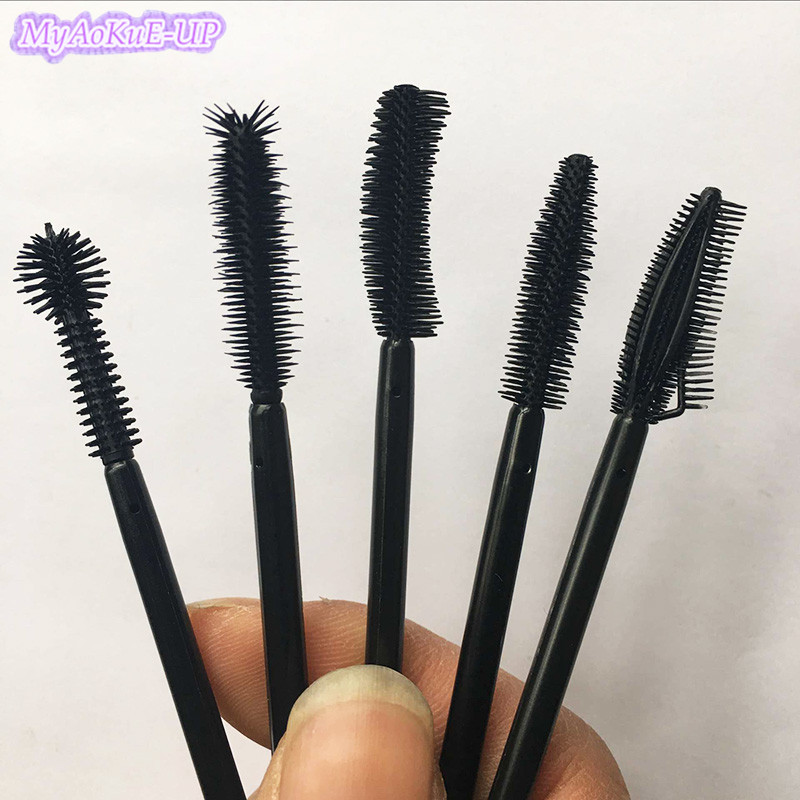 Disposable 200pcs Women Makeup Mascara Brushes Eyelash Brush Silicone Mascara Applicator Wand All Black Make Up Brush Wholesale