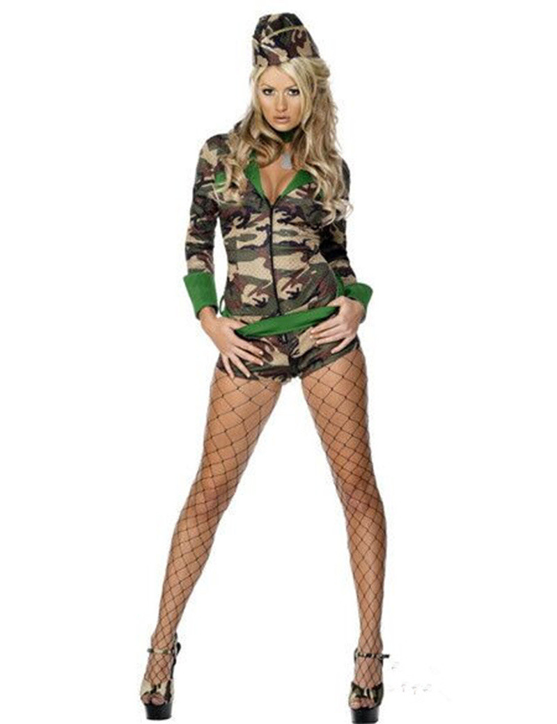 New Women Army Uniform Sexy Adult Halloween Soldier Women Camouflage Masquerade Military Party Costumes