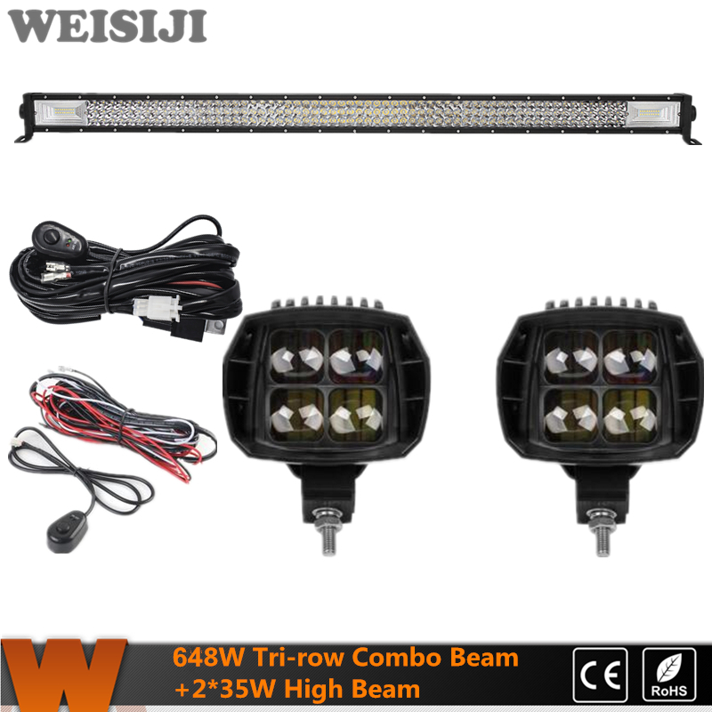 WEISIJI New Tri-row 648W Offroad LED Light Bar+2Pcs 35W High Beam LED Work Light+2Pcs Wiring Kits Set for Jeep Truck SUV ATV UTV видеоигра бука saints row iv re elected