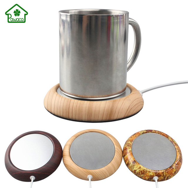 Imitation Wood Metal Usb Insulation Mat Coffee Mug Warmer Desktop Cup Electric Beverage Heater Aluminum