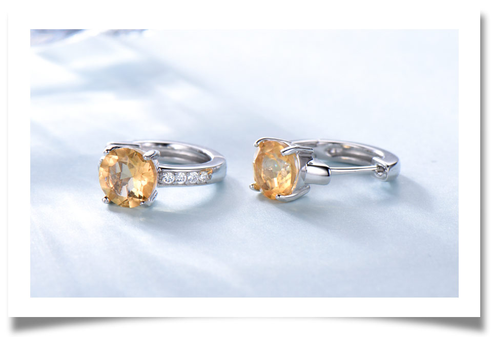 925 sterling silver natural citrine earrings for women (4)