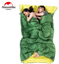 Naturehike New Envelope Style Cotton Sleeping Bag Outdoor Camping Double Sleeping Bag with Pillow