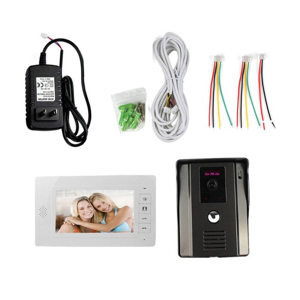 7 Color Video Door Phone Video Intercome Doorbell IR Night Vision Rainproof Security Camera Doorbell Kit Home Surveillance
