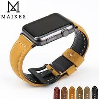 MAIKES Novel Design Watchbands Genuine Leather Watch Strap Watch Bracelet Belt For Apple Watch Bands 42mm