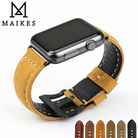 MAIKES Novel Design Watchbands Genuine Leather Watch Strap Watch Bracelet Belt For Apple Watch Bands 42mm