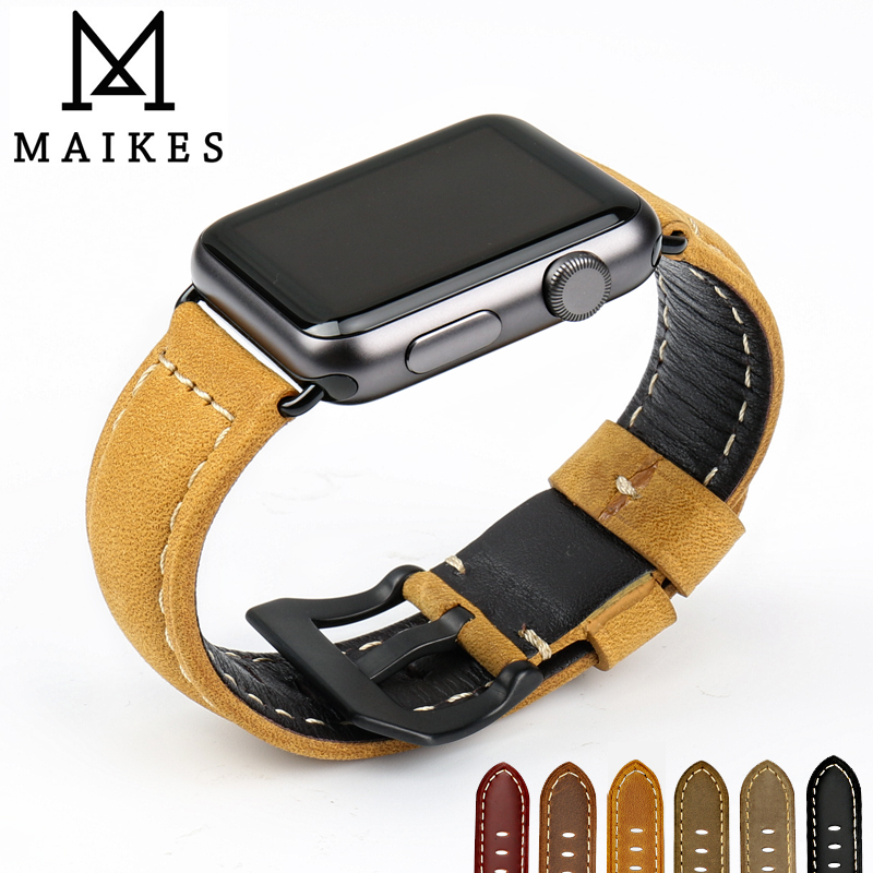 MAIKES Genuine Leather 44mm 40mm For Apple Watch Strap Watch Bracelet For Apple Watch Bands 42mm 38mm Iwatch Series 5 4 3 2 1