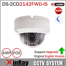 Hik DS-2CD2142FWD-IS 4MP POE IP Camera Day/night Infrared 3D DNR 3-axis adjustment IP67 IK10 Protection Dome Camera