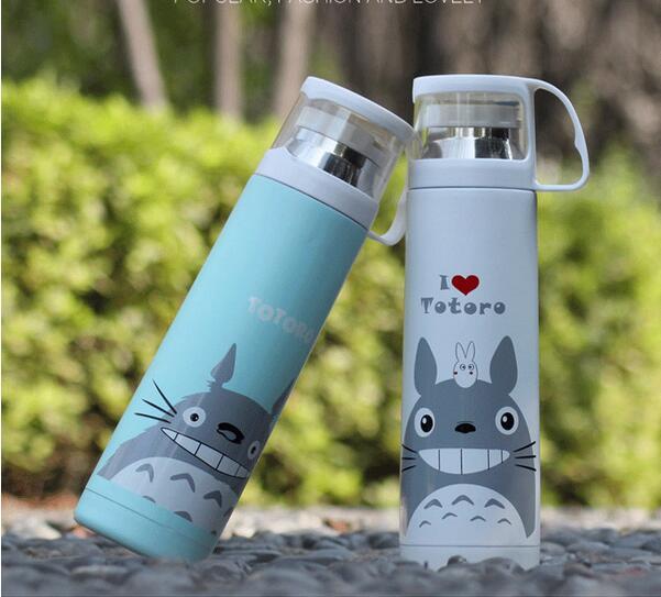 Totoro Double Couche Isolé Sous Vide Bouteille D'eau flacon tasse 304 18/8 acier inoxydable 500 ml tasse de noël cadeau thermo tasse tumbler
