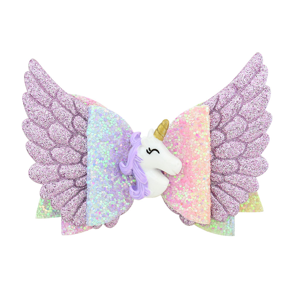 3.5 Inch Glitter Angle Wing Hair Bows Unicorn Bows Girls Hairpins Fairy Clips Handmade Chunky Barrettes Party Outfit Headwear(China)