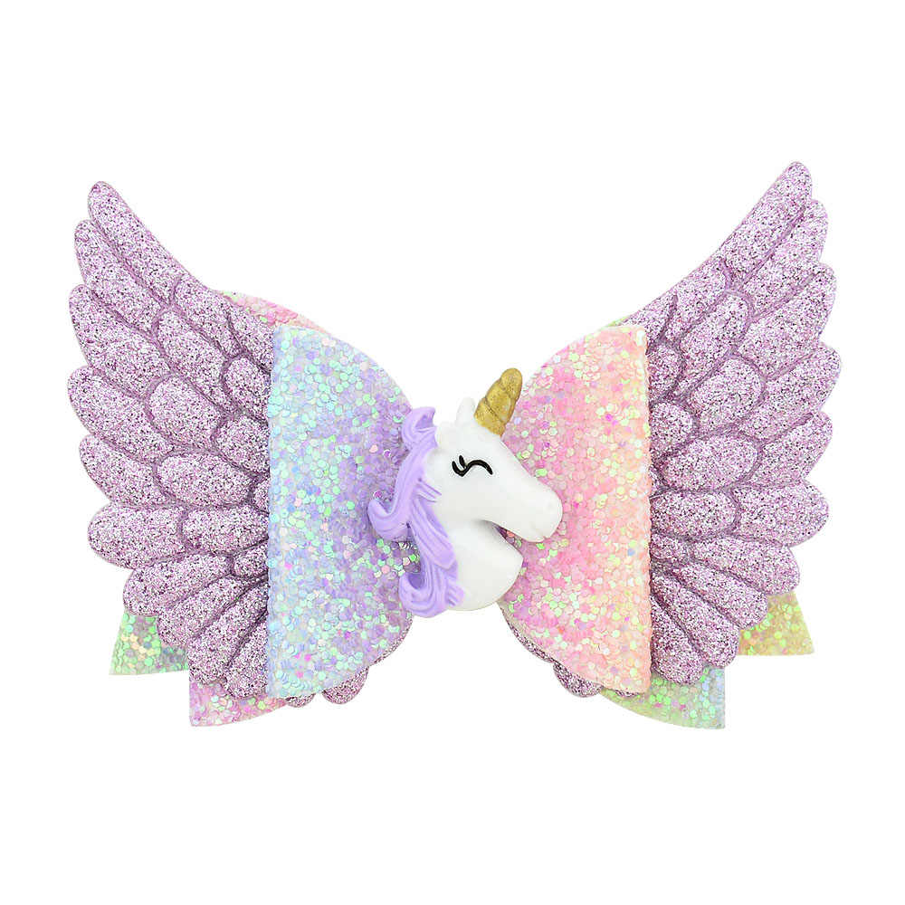 3.5 inch Glitter Angle Wing Hair Bows Unicorn Bows Girls Hairpins Fairy Clips Handmade Chunky Barrettes Party Outfit Headwear