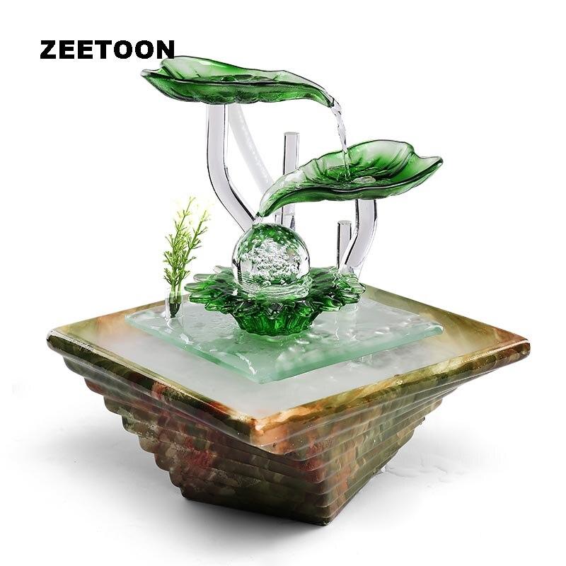 Керамика воды настольный фонтан распылитель повезло хрустальный шар воды Особенности Стекло завод увлажнитель воздуха LED фэн шуй Домашний