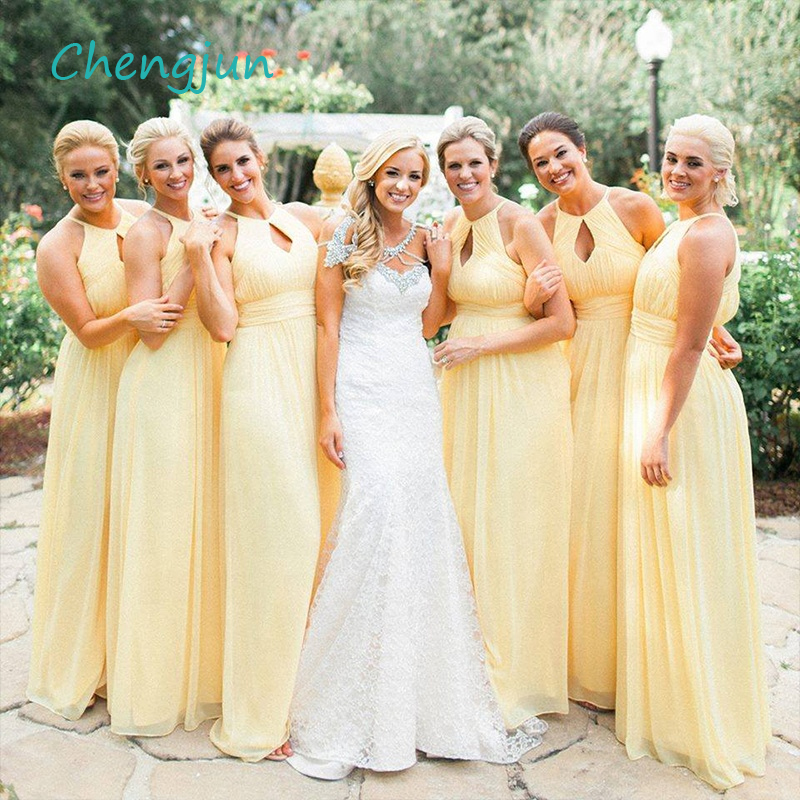 Chengjun Simple Cheap Chiffon Yellow   Bridesmaid     Dresses