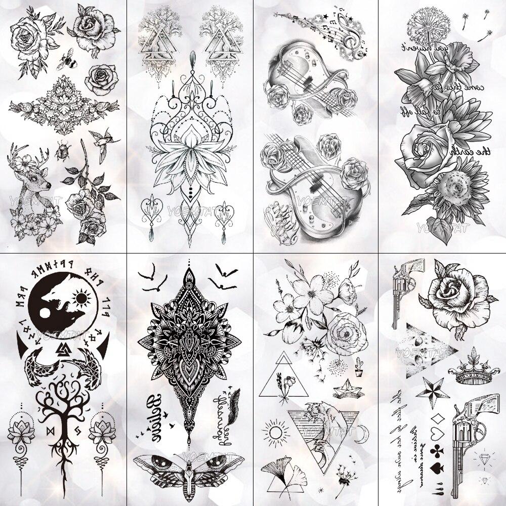 Us 079 20 Offminimal Line Rose Cornflower Waterproof Temporary Tattoo Sticker Totem Cello Flash Tattoos Body Art Fake Arm Tatoo Women In Temporary