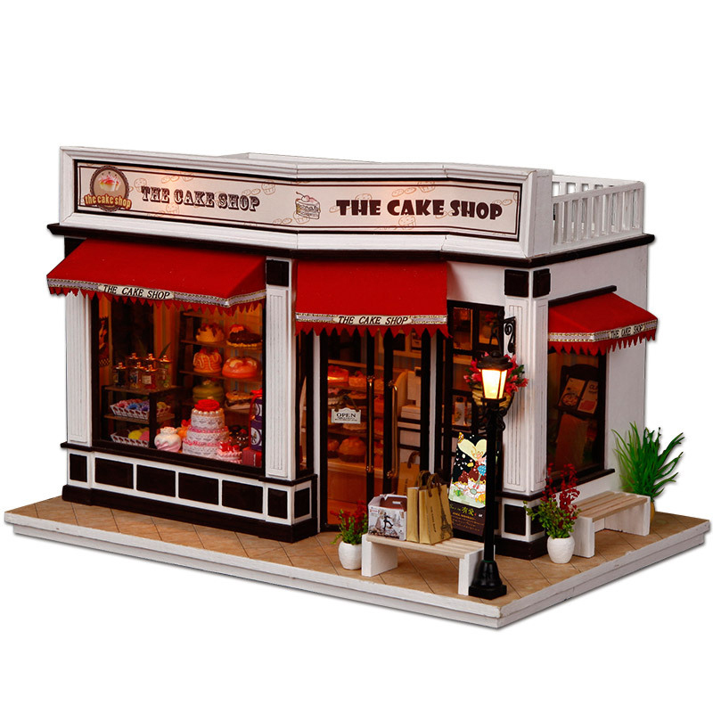 Minature Dollhouse Diy Doll House Casa Wooden Store Model With Furnitures Building Christmas Gift Toys For Children K016 #EEMinature Dollhouse Diy Doll House Casa Wooden Store Model With Furnitures Building Christmas Gift Toys For Children K016 #EE