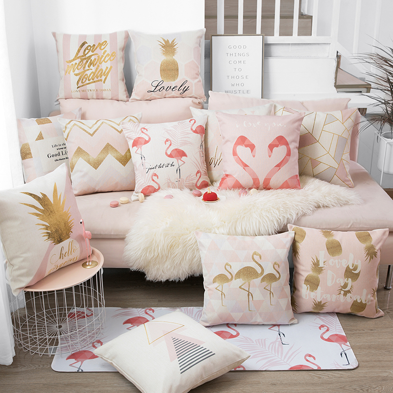 Nordic Style Home Decorative Cushion Cover Pink Flamingo
