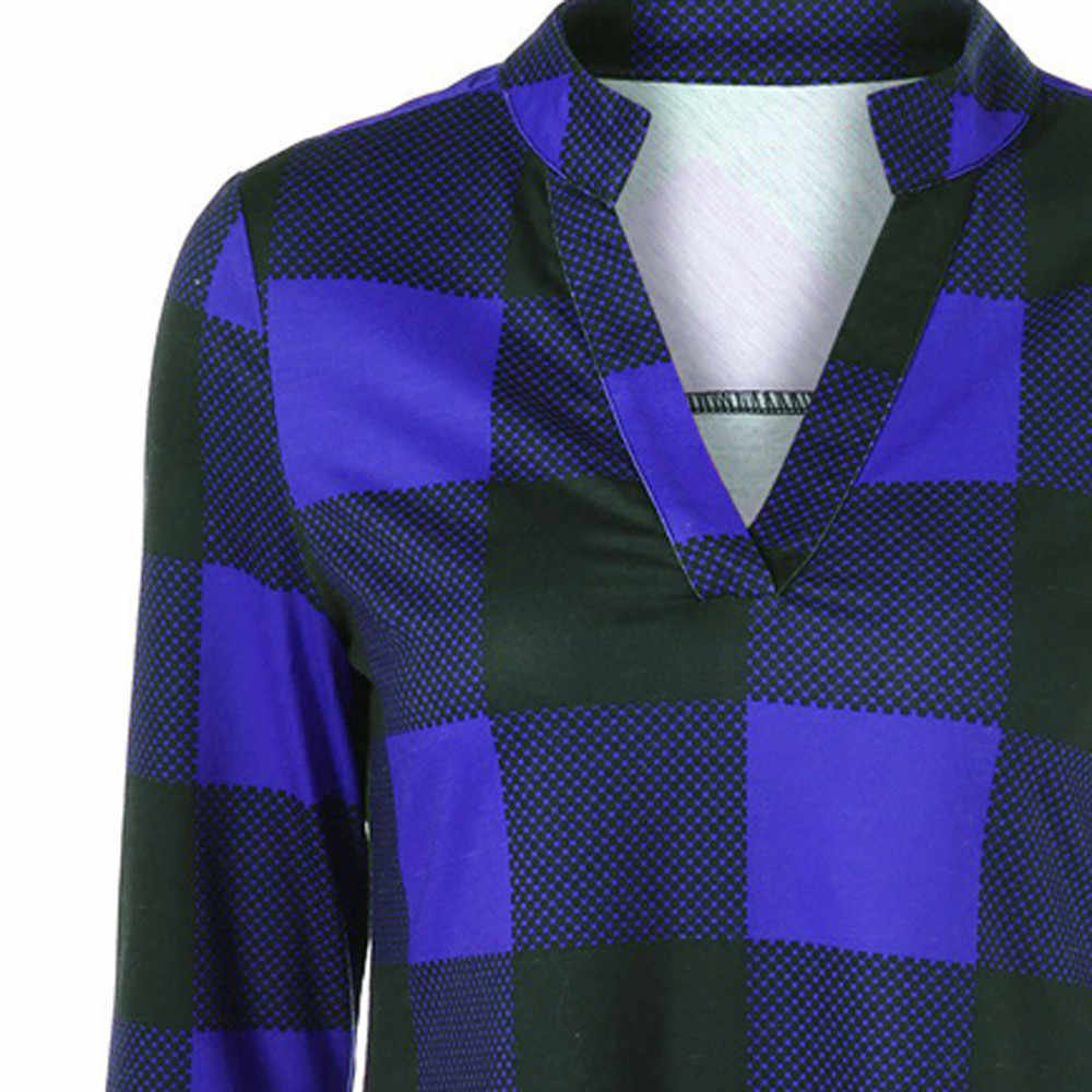 新ファッション女性 V ネック長袖チェック柄を印刷ブラウスシャツ Blusas Femininas 2 色 #25