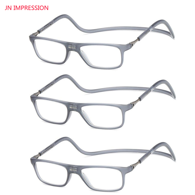 e4012e90aca JN IMPRESSION 3 Pairs Magnetic Reading Glasses Men Women Gray Adjustable Hanging  Neck presbyopic glasses +1.25 1.75 2.25 2.75