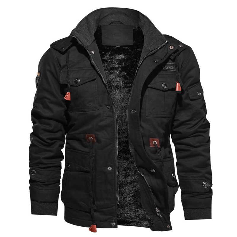 ドロップ無料冬フリース軍の戦術的なジャケットメンズ綿暖かいフード付き爆撃機カジュアルフライトジャケット Jaqueta masculina
