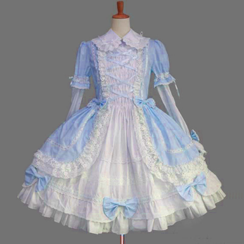 2018 Classic Long Sleeve Lolita Dress Cotton Lace Ruffles Cosplay Costume Cotton JSK Dress for Girl