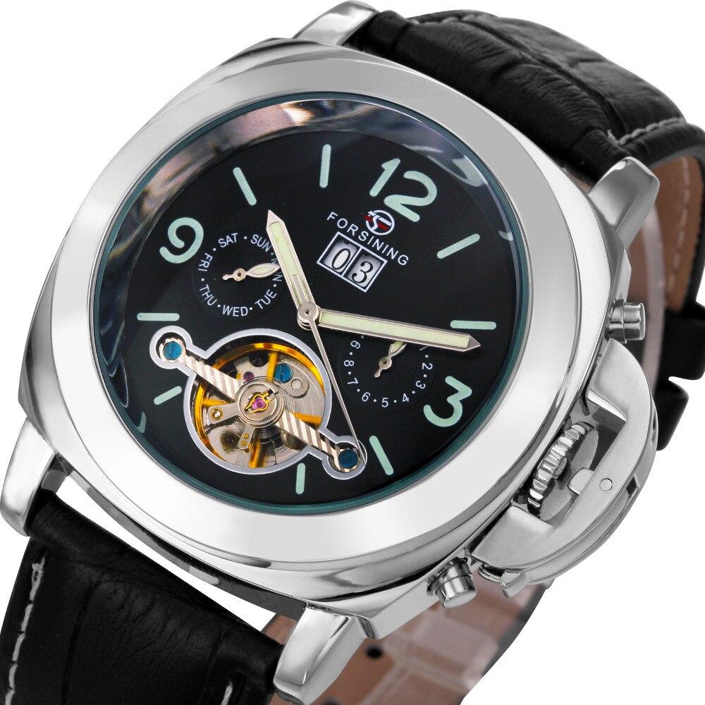 Luxury Men Automatic Tourbillon Mechanical Watch Classic FOSINING Brand Leather Strap Calendar Date Wristwatches Relojes hombre цена и фото