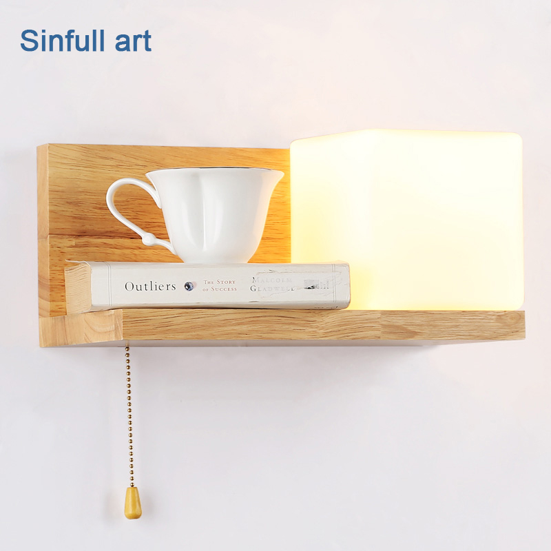 Indoor bedroom wood Wall Lamp AC100V 220V home Decoration Wall light Stair hallway OAK Sconce modern E27 lighting fixtures modern minimalist wall lamp solid wood lamps frosted glass oak lights indoor home lighting fixtures decoration bedroom sconce