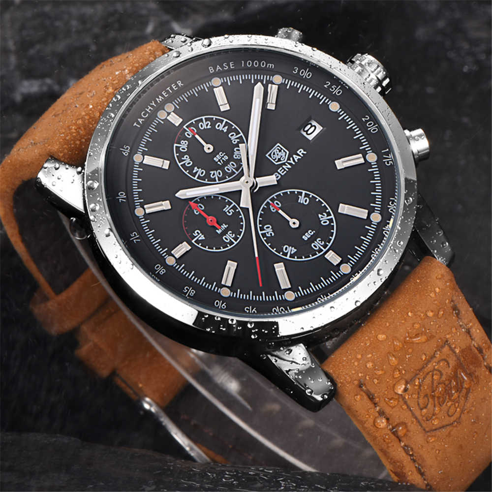 Mens שעון Benyar יוקרה מותג קוורץ שעון ספורט עור עמיד למים שעון הכרונוגרף צבאי גברים של שעון Relogio Masculino