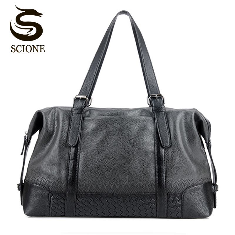 Knitted Pattern Travel Bag Casual Male PU Handbags Messenger Bag Men PU Leather Business Travel Duffel Bags Large Capacity Tote ahri casual business men travel bags large capacity rolling travel handbag black leather mens duffel bag for short trip
