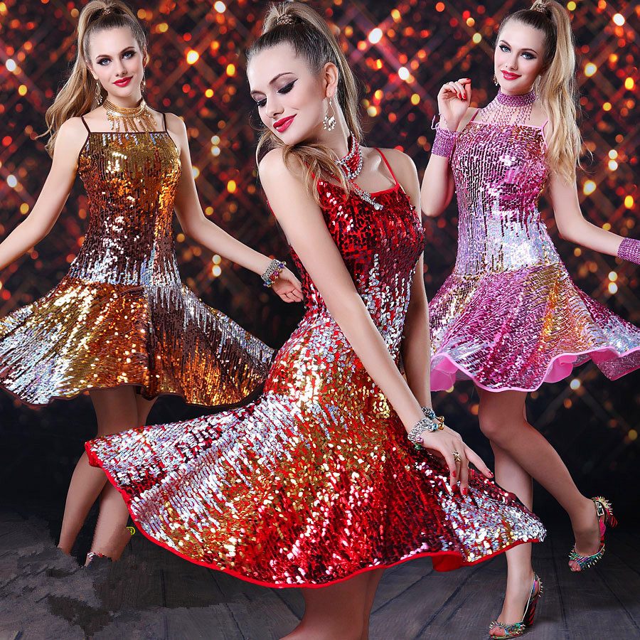 Stage Performance Sequins Latin Dance Dress for Women ...