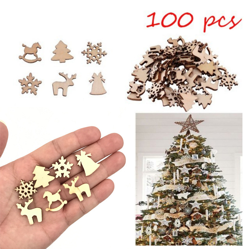 100pcs Lps Nendoroid Natural Wooden Diy Christmas Tree Hanging Ornaments Gifts Snow Flakes Table Bottle Dty Action Figures Toy in Action Toy Figures from Toys Hobbies
