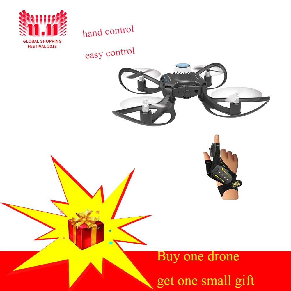 Mini Drone foldable Arm 2.4G Glove Gesture Movement Sensing Control  Drone One Key Return Gesture Roll Drone For Beginner  Gift