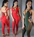 Novas mulheres sexy vestidos de festa bandagem corredores jumpsuit macacões romper geral casuais malha patchwork S-XL
