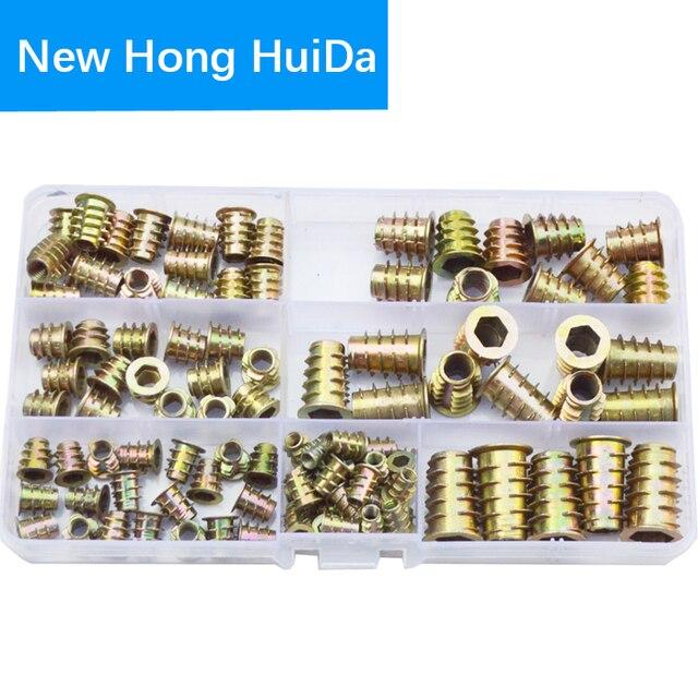 M4 M5 M6 M8 M10 Furniture Insert Nut Alloy Steel Hex Socket Head Drive Screw For Wood Metric Thread Assortment Tool Kit Set