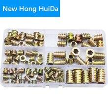 M4 M5 M6 M8 M10 Meubels Insert Moer Gelegeerd Staal Hex Socket Head Drive Schroef Voor Hout Draad Metrisch Assortiment tool Kit Set