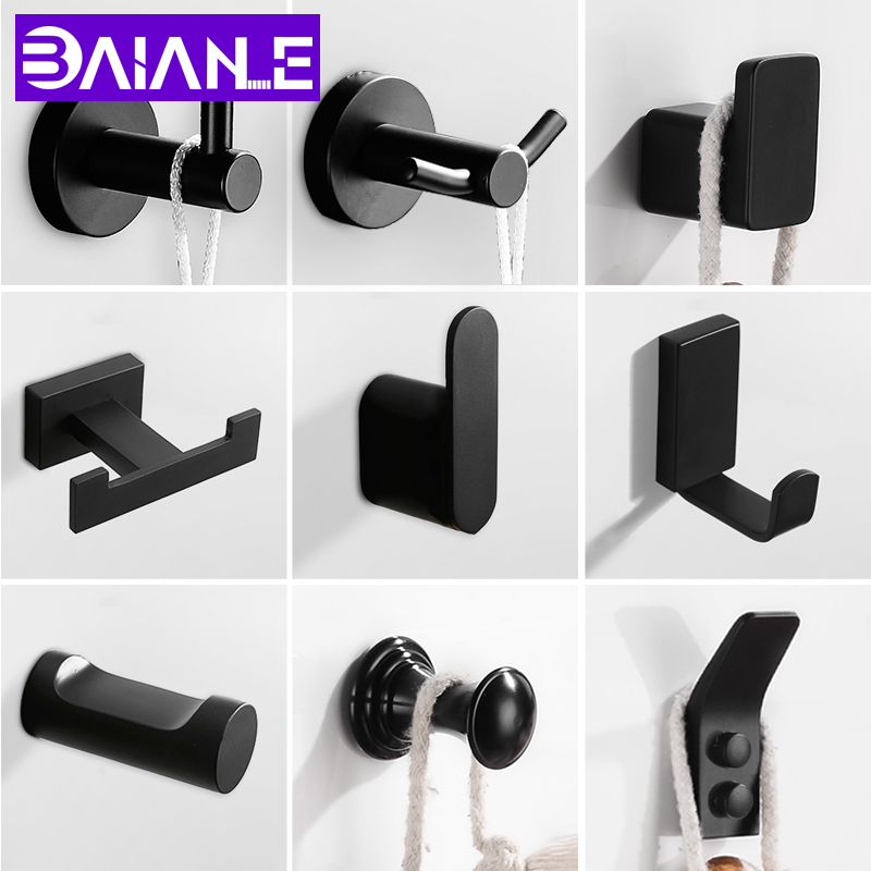 Robe Hook Black Decorative Coat Hooks Rack Wall Hanger Single Stainless Steel Bathroom Hook For Towels Hat Bag Rack Wall Mounted