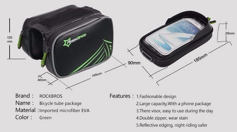 Rockbros mtb rama roweru przodu torba głowy górna rura podwójna IPouch Dotykowy Kolarstwo Pannier Dla 5.8/6 cal Smartfon Dotykowy ekran 3