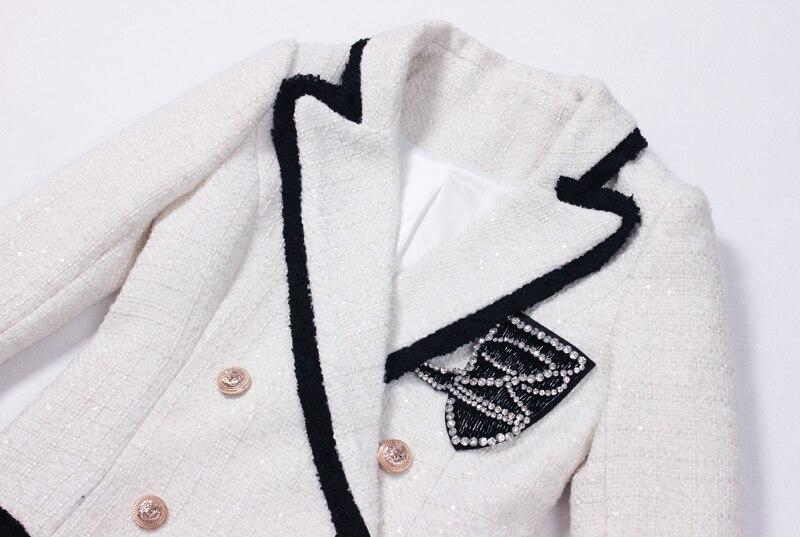 Boutonnage À D'hiver 2018 Et Petit Double Veste Hit Blanc Marée Couleur Mode Automne Mosaïque Nouvelle Badge Femelle Costume Diamant Collier q4fn4Ra6