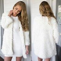 2017 Winter Autumn Women S Fluffy Shaggy Faux Fur Cardigan Whit Color Slim Long Warm Outwears