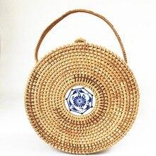 Rattan Handtaschen Große Größe 22*10cm Keramik Chinesischen Stil Runde Taschen für Frauen 2019 Sommer Strand Tasche Stroh totes