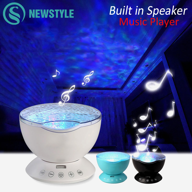 7 farger LED nattlys Starry Sky fjernkontroll Ocean Wave-projektor med Mini Music Novelty baby lampe nattlampe for barn