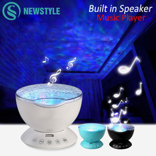 7Colors LED Night Light Starry Sky Remote Control Ocean Wave Projector with Mini Music Novelty baby