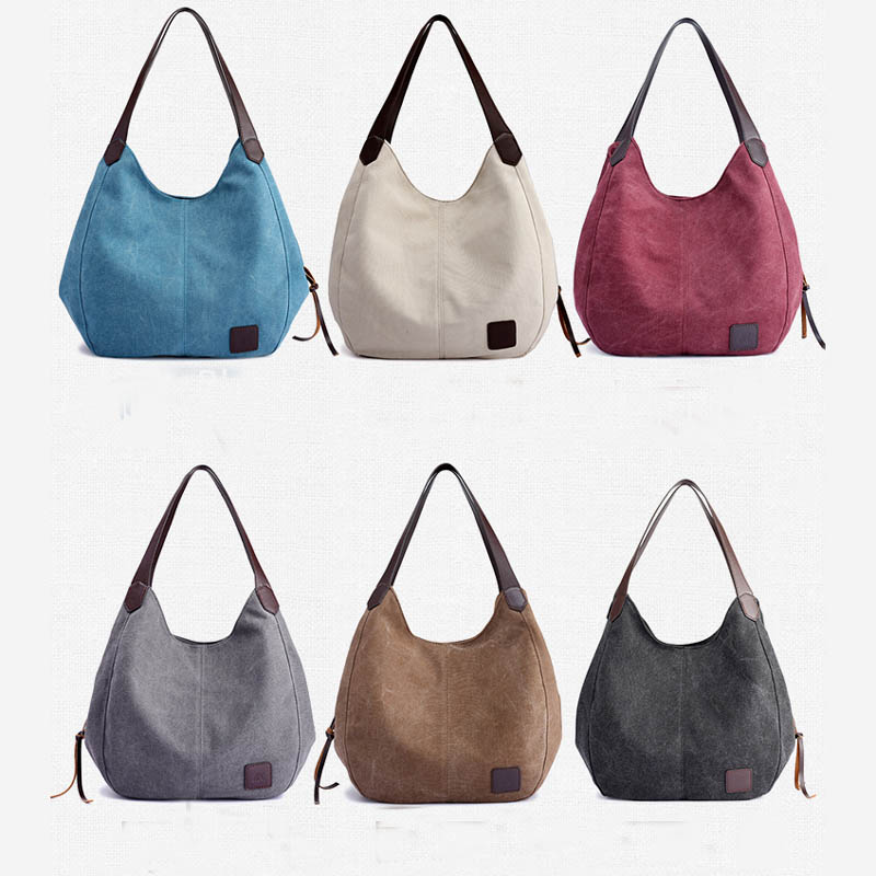 Women's Canvas Handbags High Quality Female Hobos Single Shoulder Bags Vintage Solid Multi-pocket Ladies Totes Bolsas