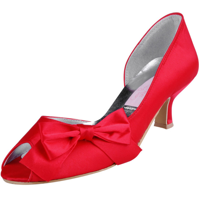 Shoes Woman  Red Bow Pumps WM-004 Peep Toe 2inch Heel Satin Evening Party Prom Designer Shoes for Women Fashion Heels