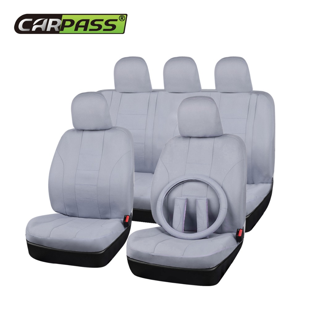 Car-pass (Black Beige Gray) Fabric Universal Car Seat Cover Fit Most Auto Interior Decoration Accessories Car Seat Protector