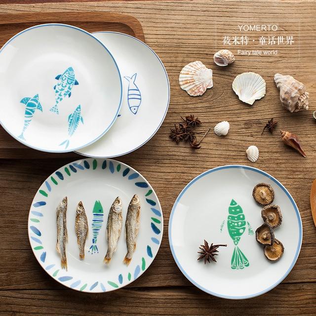 8 Inch Creative Ceramic Plate Personalized Bone China Round Plate Fruit Salad Pasta Dish Plates X029 & 8 Inch Creative Ceramic Plate Personalized Bone China Round Plate ...