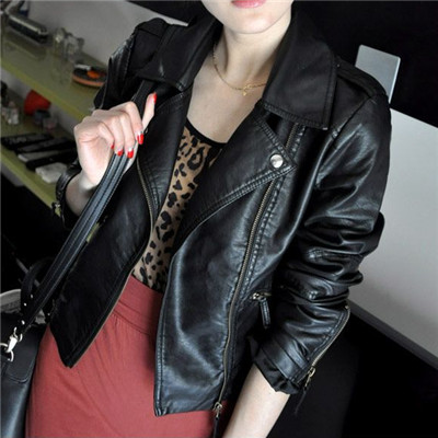 2017 New Fashion Autumn Street Women's Short Washed PU Leather Jacket Zipper Bright Colors New Ladies Basic Jackets Good Quality