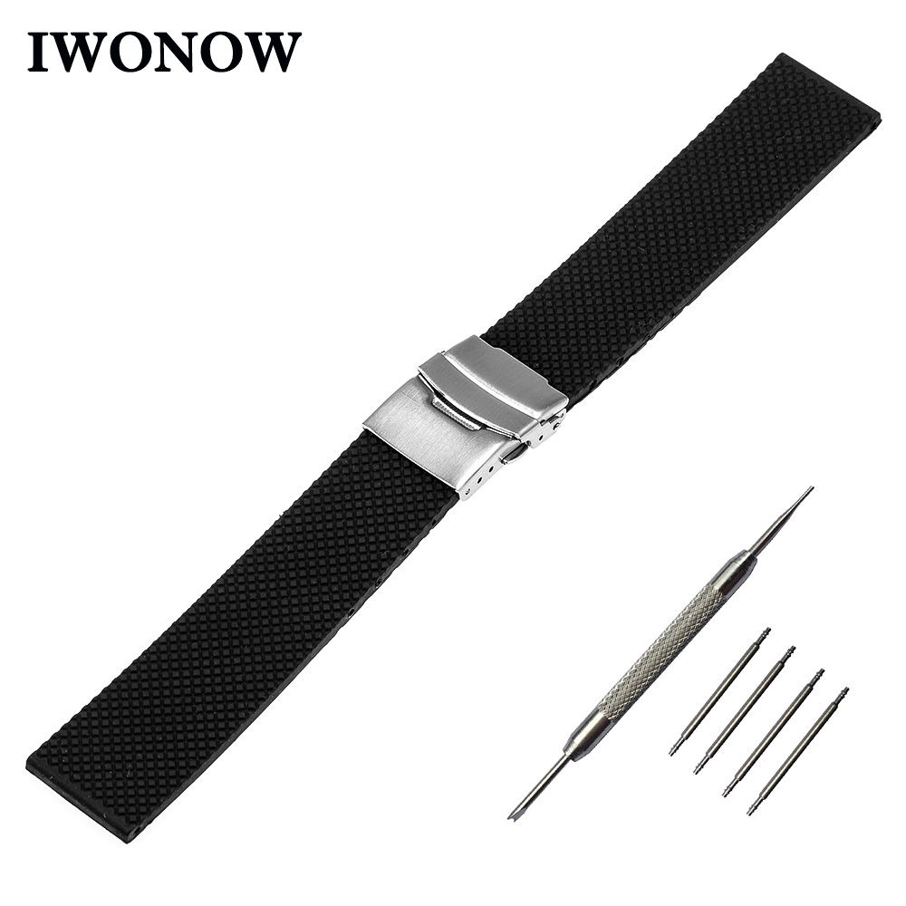 Silicone Rubber Watch Band 22mm for Samsung Gear 2 R380 Neo R381 Live R382 Gear S3 Watchband Safety Buckle Strap Wrist Bracelet